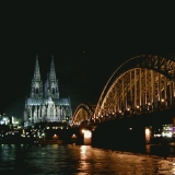 A view across the Rhine to the Cologne cathedral at the Hohenzoller bridge