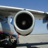 An engine on an United Express airplane