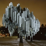 The Sibelius monument illuminated by night