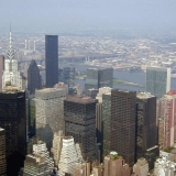 A view from the Empire State Building to the direction of the Chrysler Building and the UN headquarters