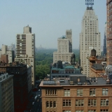 A view to Central Park from the hotel room window