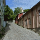 The old town of Porvoo with the cathedral on the background