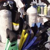 Diving equipment on the boat deck