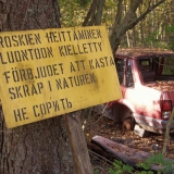A sign in the woods