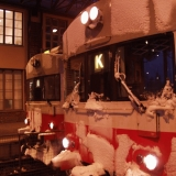 Snowy trains at the Helsinki Railway station