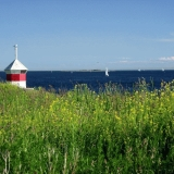 A beacon, flowers and sailing boats at the Finnish bay