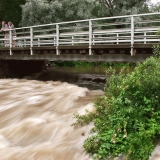 Flooding under the bridge at Sjundby