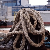 Stack of ropes on a barge