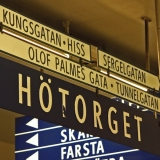 Signs at Hötorget subway station