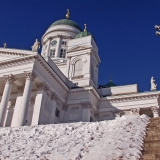 The cathedral and snowy stairs
