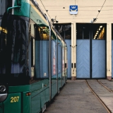 A tram at Vallila tram hall yard