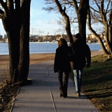 A couple walking at Uunisaari island