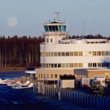Helsinki-Malmi airport at full moon