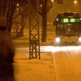 A bus in a blizzard at Mannerheimintie