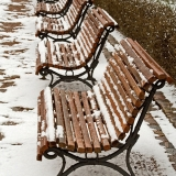 Snowy benches at Esplanadi park