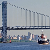 Balsa 72 passing underneath George Washington bridge