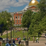 Boston Common and the Massachusetts state house