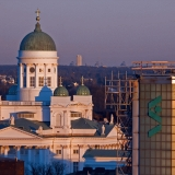 Towers of the Helsinki cathedral and Stockmann department store