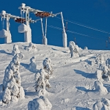 A ski lift on top of Ruka