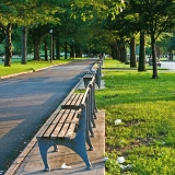 Benches at Flushing Meadows park