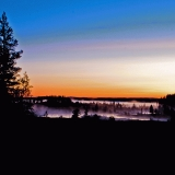 The foggy Ulkkajoki river at dawn