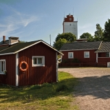 Utö Village with the lighthouse  in the background