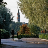 Hesperia park at Töölönranta restaurant, the tower of the Finnish national museum in the background