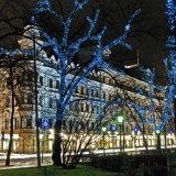 Illuminated trees at Esplanadi park
