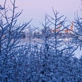 A winter scene from Uutela lagoons to Vuosaari port