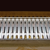The light installation Oratoribus by Mikki Kunttu illuminates the parliament house