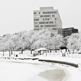 Kallio city office building and a wintery Tokoinranta