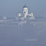 The Helsinki cathedral behind a fog
