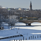 A tram on Pitkäsilta