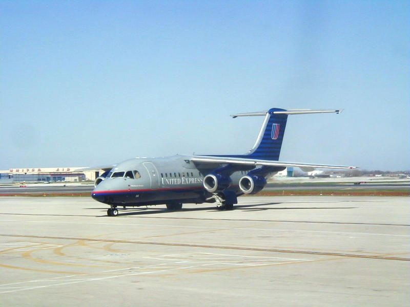 A United Express four-engine jet at O'Hare International airport