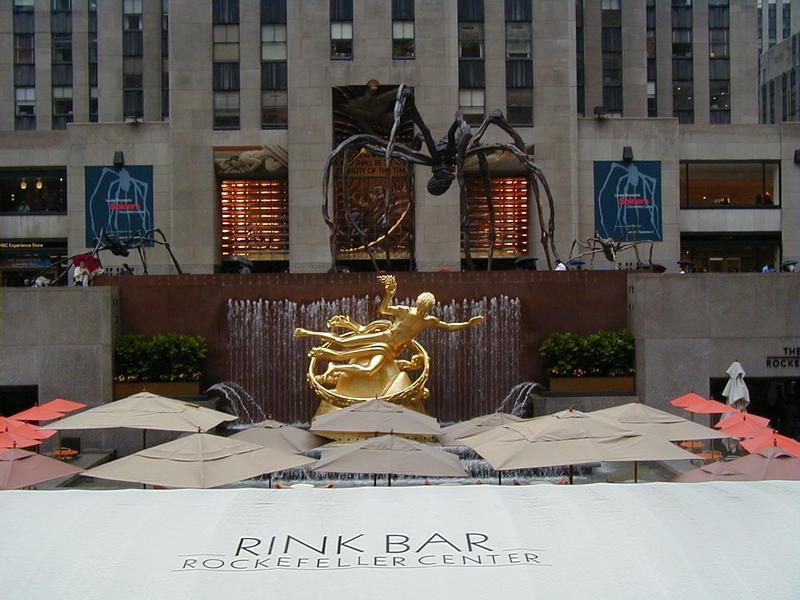 The Rockefeller Center plaza and the Prometheus statue