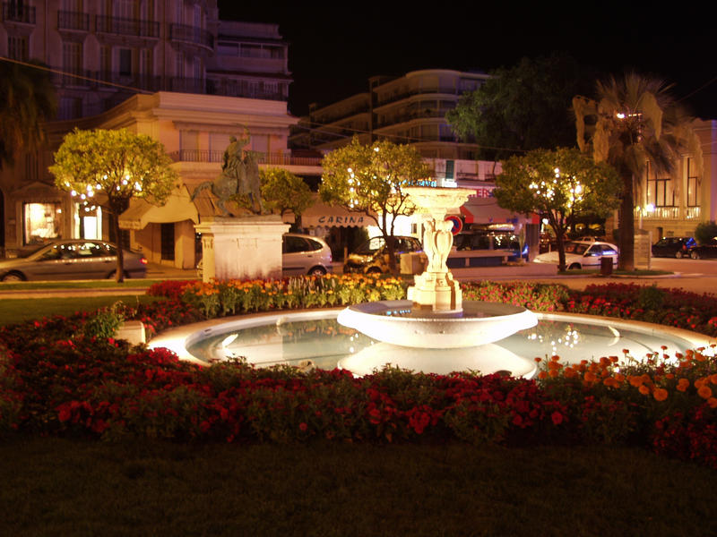 A fountain in a park