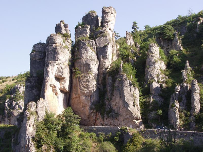A road penetrates through cliffs