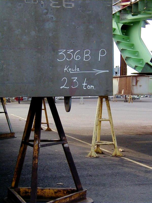 A piece of a ship at the shipyard