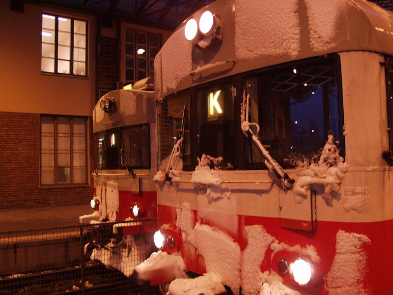 Snowy trains at the Helsinki Railway station