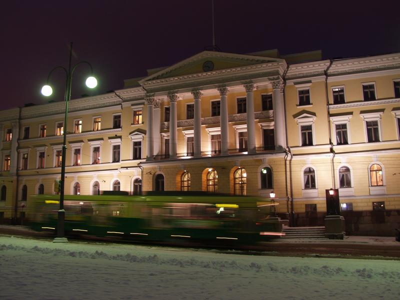 The Government Palace at the Senate square a tram passing by