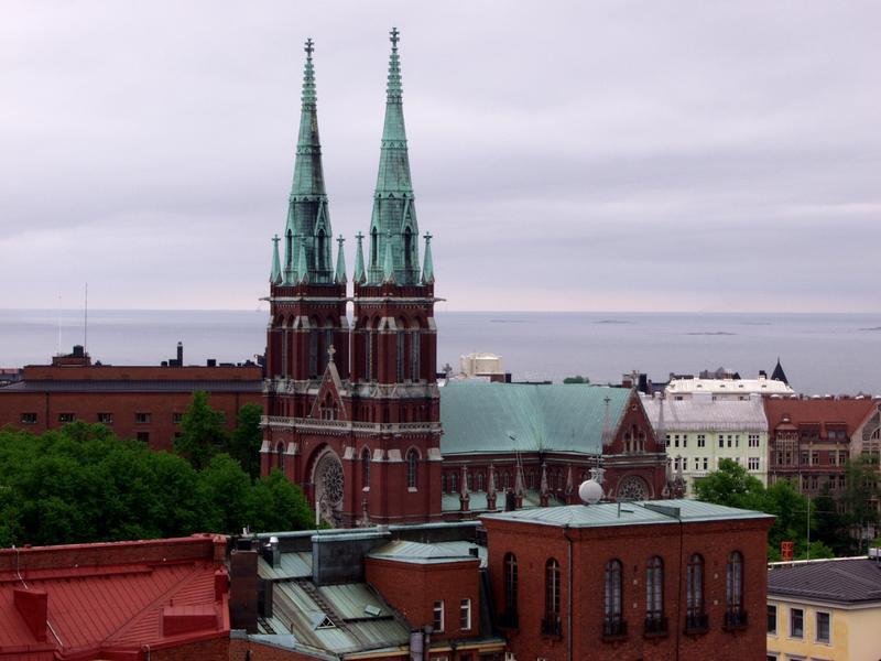 Johannes church seen from the Erottaja fire house tower
