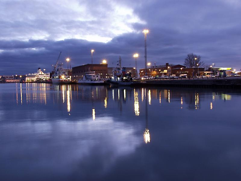 West port at dusk