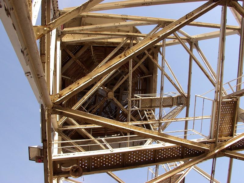 A dock yard crane's base