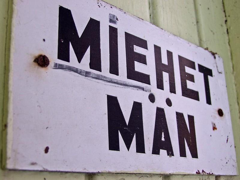 Sign for the men's dressing room at Seurasaari beach