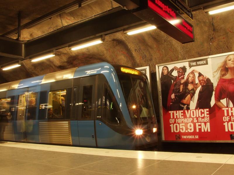 A blue line subway train