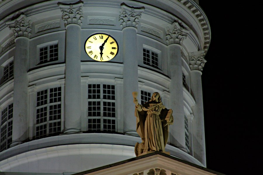 An apostle on top of the Helsinki cathedral