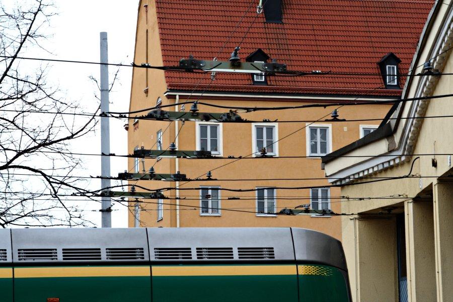 A tram's rear at Vallila tram halls