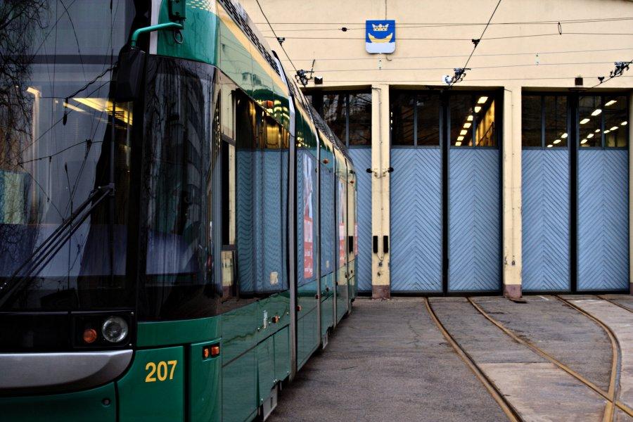 A tram at Vallila tram hall yard