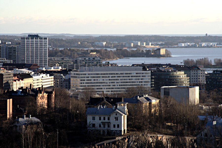 Hakaniemi, Korkeasaari ja Öljysatama nähtynä Stadionin tornista
