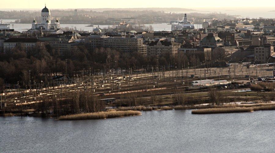 A view to the centre from the Stadium tower, Töölönlahti bay at the foreground